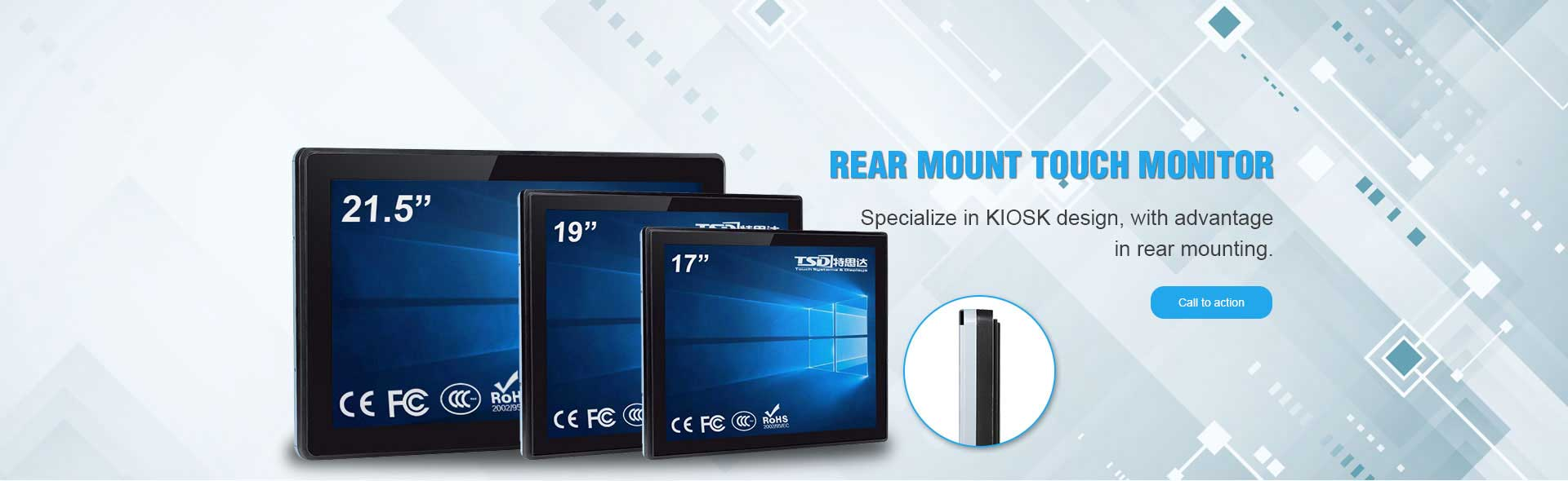 Rear Mount Touch Monitor
